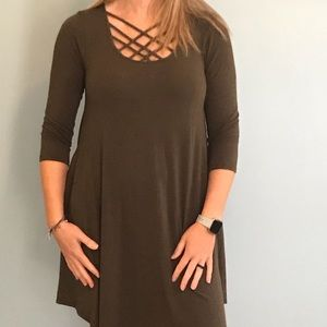 Army Green Cotton dress with pockets
